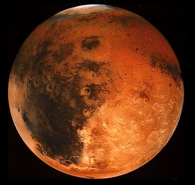 Mars is the fourth planet from the Sun and the second smallest planet in the Solar System. Named after the Roman god of war, it has the appearance of having been through the wars with its battle scarred appearance and it is often described as the